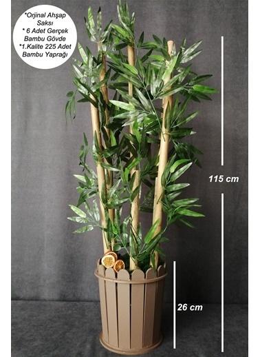 Kuru Çiçek Deposu Yapay Bambu Ağacı 1.Kalite BambuYaprakları 6 Gövde 115 cm Renkli